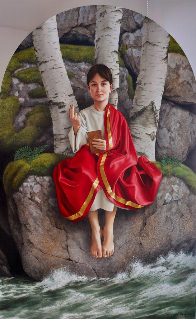 O MENINO JESUS DE MERITXELL - Para o povo andorrano, o Menino Jesus que está ao colo se sua Mãe, aparenta ter uns sete a oito anos. Achei este facto bastante interessante na medida em que é muito invulgar representar-se Jesus com essa idade. Como a presença de uma criança de sete a oito anos no colo de sua mãe a cobriria e não seria muito harmoniosa, decidi substituir o colo de sua mãe pela natureza de Andorra: os seus rochedos, rios e árvores. Neste contexto, a aparição é o Menino Jesus.