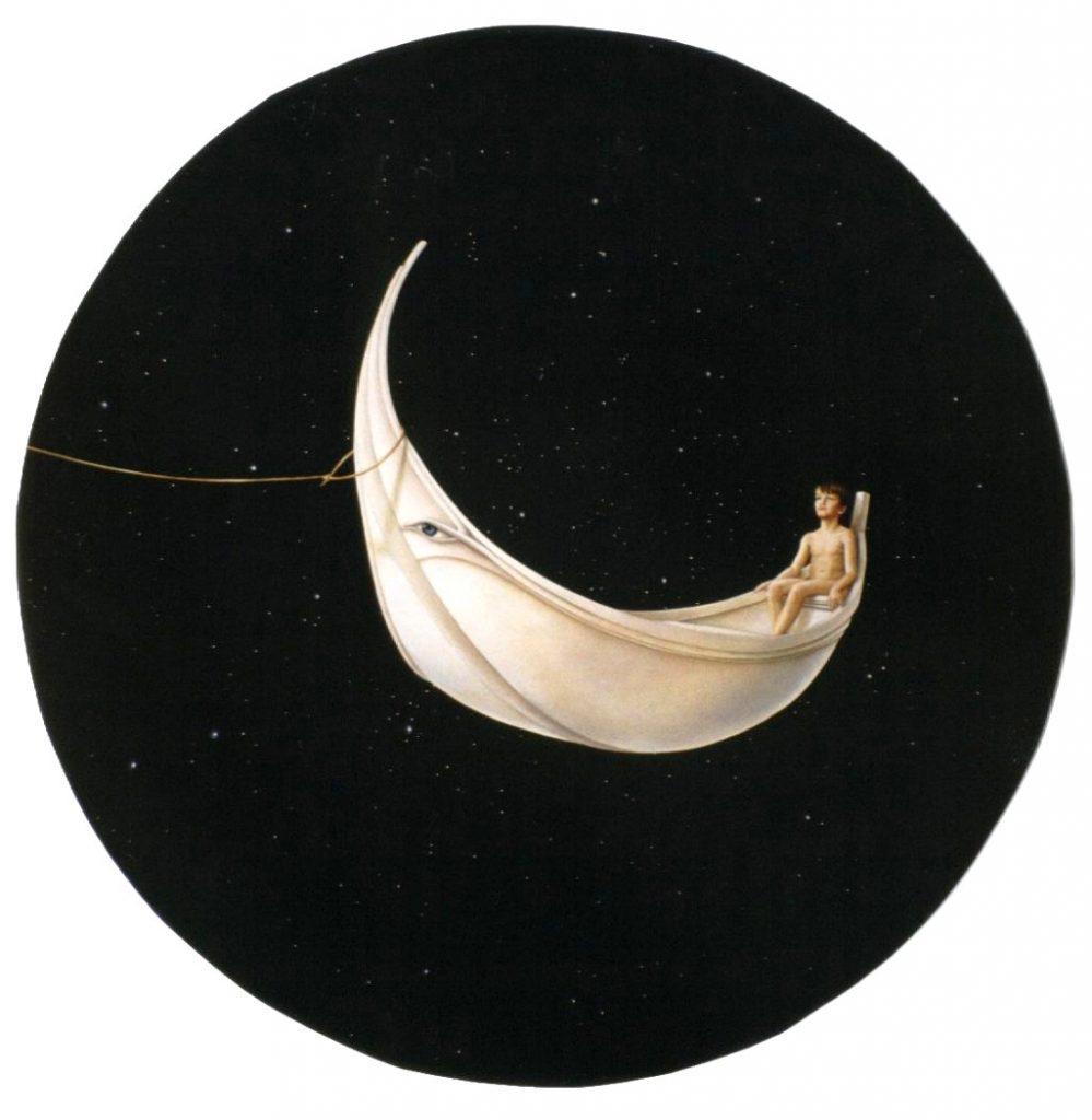 O REI E A LUA (óleo sobre tela, 90 cm Ø)