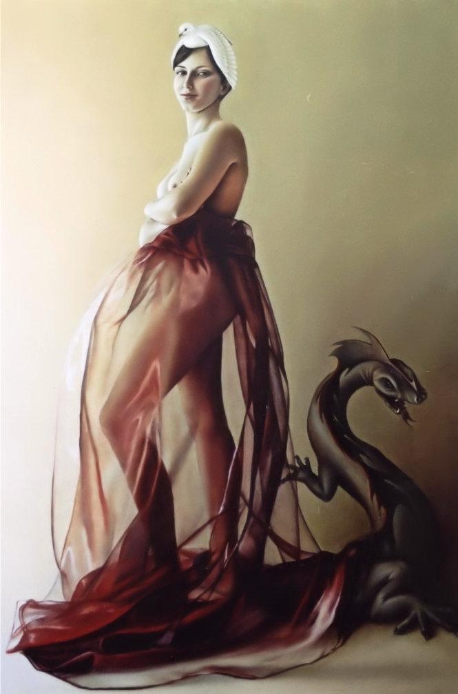 EU SOU A POMBA E O DRAGÃO (óleo sobre tela, 135x94 cm, 2002)
