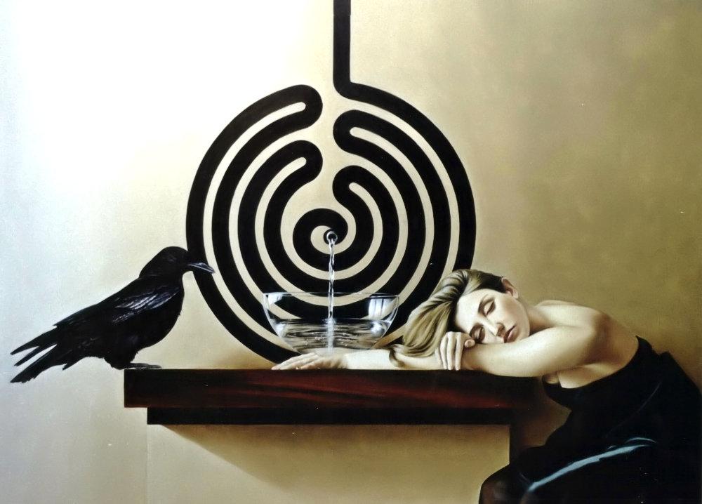 DORMIMOS ENQUANTO A VIDA CORRE (óleo sobre tela, 100x135 cm, 2002)