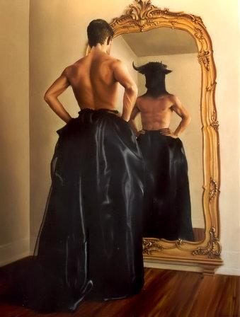 ENFRENTANDO-SE I (óleo sobre tela, 129x100 cm, 2003)