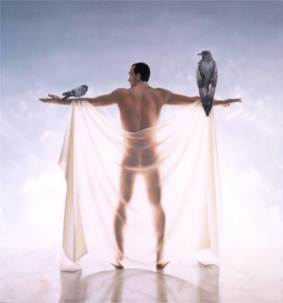 A POMBA E A ÁGUIA (óleo sobre tela, 200x100 cm, 1999)