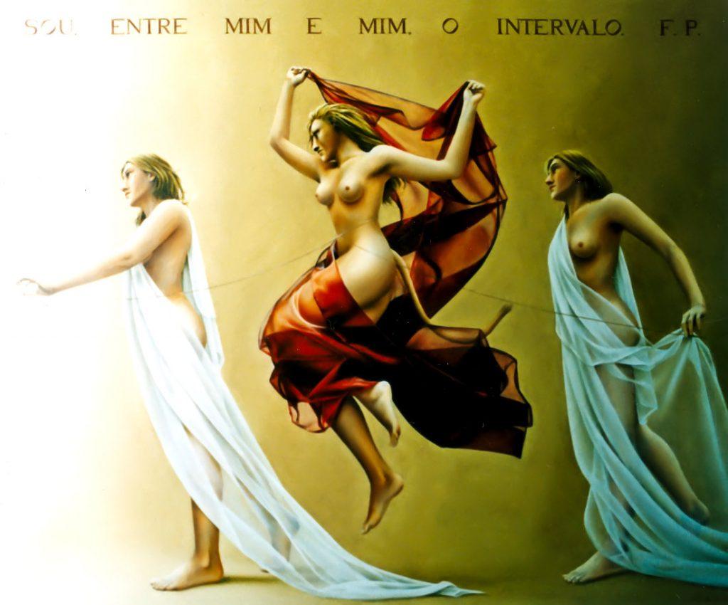 SOU, ENTRE MIM E MIM, O INTERVALO (óleo sobre tela, 102x121 cm, 2004)